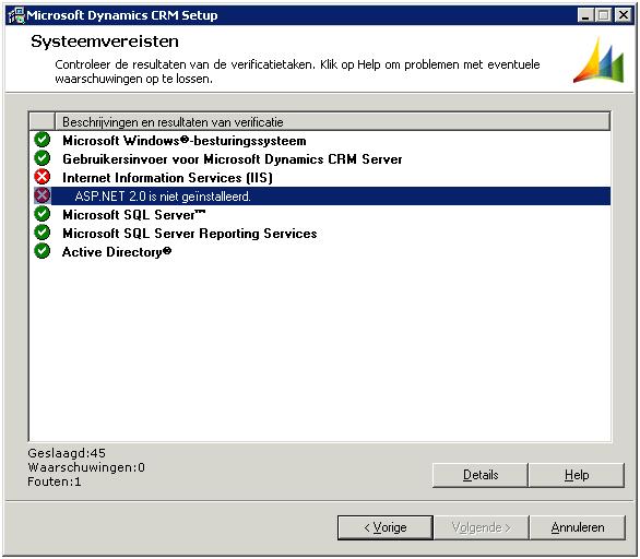 Screenshot setup ms crm 4.0