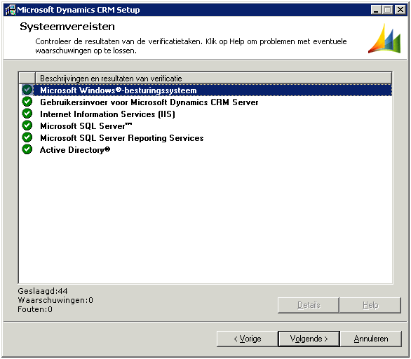 Screenshot setup ms crm 4.0